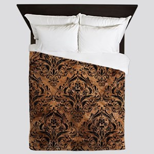 DAMASK1 BLACK MARBLE & BROWN STONE (R) Queen Duvet