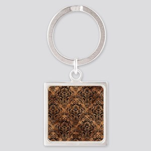DAMASK1 BLACK MARBLE & BROWN STONE Square Keychain