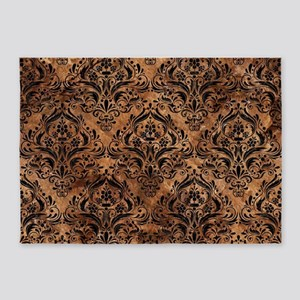 DAMASK1 BLACK MARBLE & BROWN STONE 5'x7'Area Rug