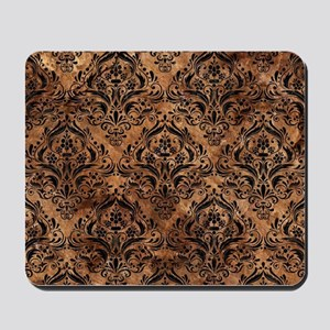 DAMASK1 BLACK MARBLE & BROWN STONE (R) Mousepad
