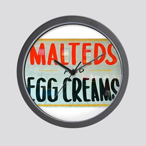 NYC: Malteds and Egg Creams Wall Clock