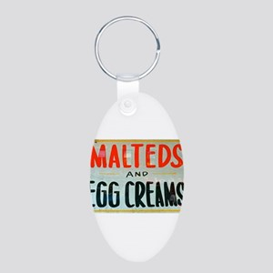 NYC: Malteds and Egg Creams Aluminum Oval Keychain