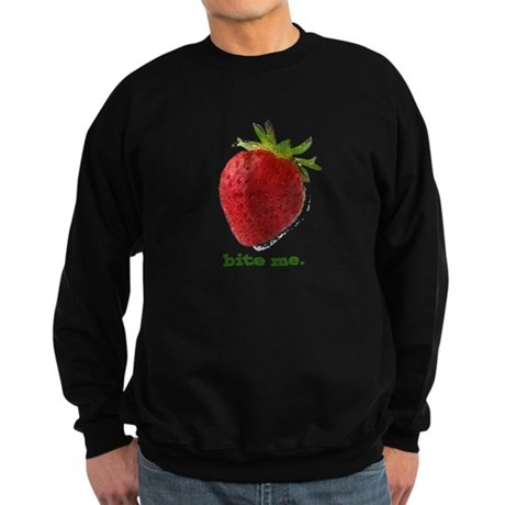 funny bite me strawberry Sweatshirt (dark)