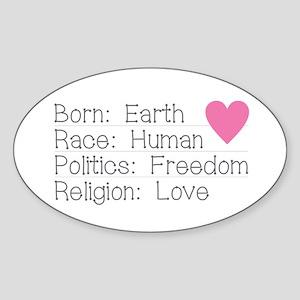 Born Race Politics Religion Sticker