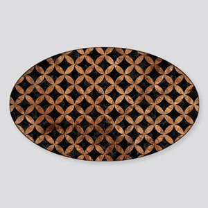 CIRCLES3 BLACK MARBLE & BROWN STONE Sticker (Oval)
