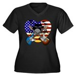 Power trio4 Women's Plus Size V-Neck Dark T-Shirt