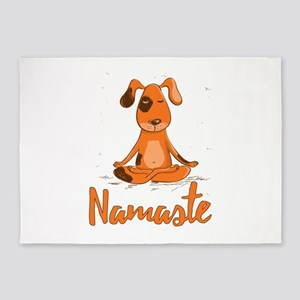 Namaste Yoga Dog 5'x7'Area Rug