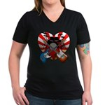 Power trio5 Women's V-Neck Dark T-Shirt