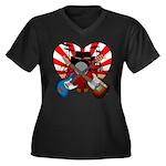 Power trio5 Women's Plus Size V-Neck Dark T-Shirt