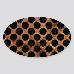 CIRCLES2 BLACK MARBLE & BROWN STONE Sticker (Oval)