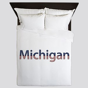 Michigan Stars and Stripes Queen Duvet