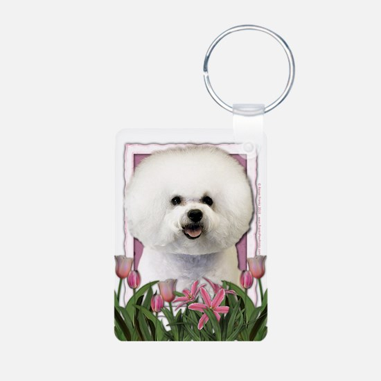 Mothers Day Pink Tulips Bichon Keychains