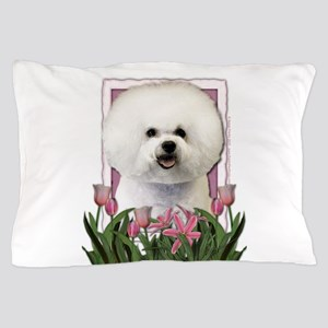 Mothers Day Pink Tulips Bichon Pillow Case