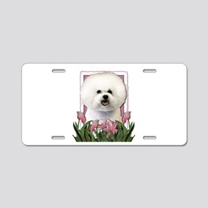 Mothers Day Pink Tulips Bichon Aluminum License Pl