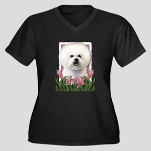 Mothers Day Pink Tulips Bichon Women's Plus Size V