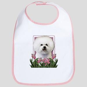 Mothers Day Pink Tulips Bichon Bib