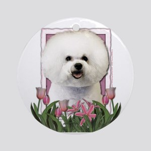 Mothers Day Pink Tulips Bichon Ornament (Round)