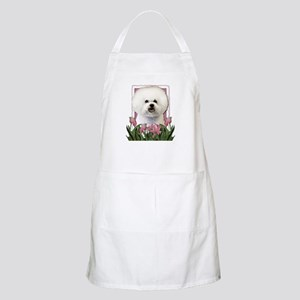 Mothers Day Pink Tulips Bichon Apron