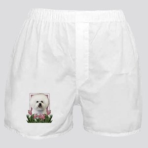 Mothers Day Pink Tulips Bichon Boxer Shorts