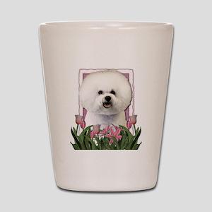 Mothers Day Pink Tulips Bichon Shot Glass