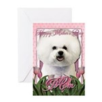 Mothers Day Pink Tulips Bichon Greeting Card