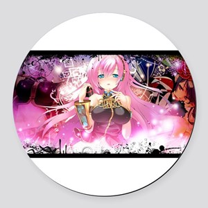 music pink anime Round Car Magnet
