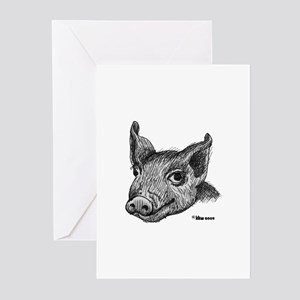 Potbelly Pig Greeting Cards (Pk of 10)