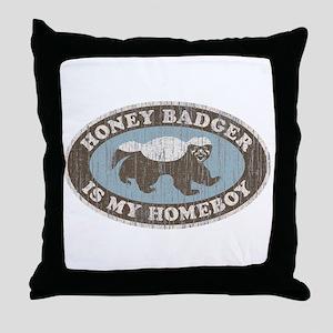 Vintage Honey Badger HB Throw Pillow