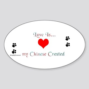 Crested Love Oval Sticker