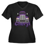 Trucker Cheryl Women's Plus Size V-Neck Dark T-Shi