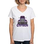 Trucker Christie Women's V-Neck T-Shirt