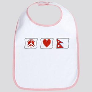 Peace, Love and Nepal Bib