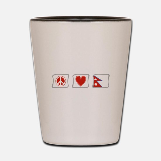 Peace, Love and Nepal Shot Glass