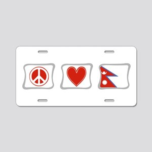 Peace, Love and Nepal Aluminum License Plate