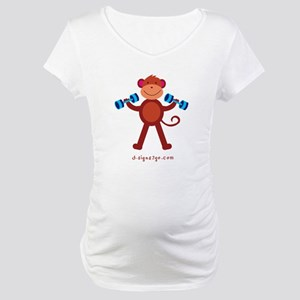 Monkey Weightlifting Maternity T-Shirt