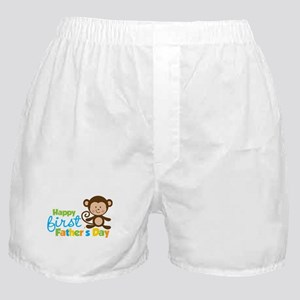 Boy Monkey Happy 1st Fathers Day Boxer Shorts
