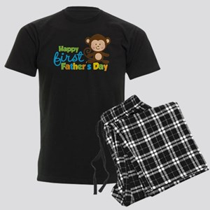 Boy Monkey Happy 1st Fathers Day Men's Dark Pajama