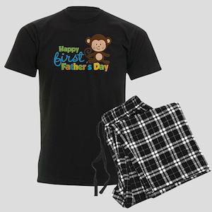 Boy Monkey Happy 1st Fathers Day Men's Dark Pajama
