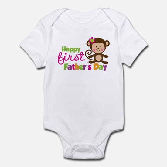 Girl Monkey Happy 1st Fathers Day Infant Bodysuit