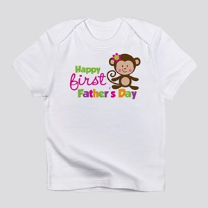 Girl Monkey Happy 1st Fathers Day Infant T-Shirt