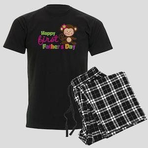 Girl Monkey Happy 1st Fathers Day Men's Dark Pajam