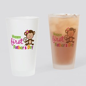 Girl Monkey Happy 1st Fathers Day Drinking Glass