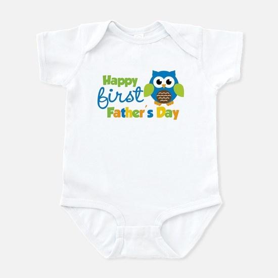 Boy Owl Happy 1st Fathers Day Infant Bodysuit