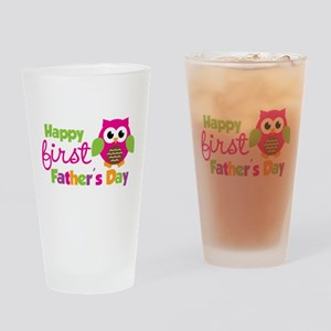 Girl Owl Happy 1st Fathers Day Drinking Glass