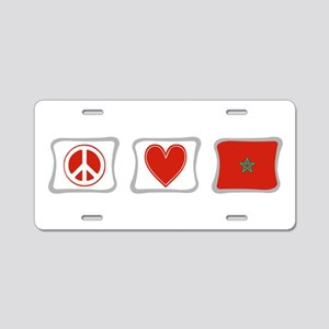 Peace, Love and Morocco Aluminum License Plate