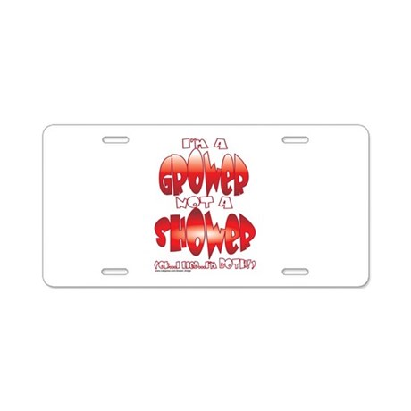 grower_shower_both Aluminum License Plate