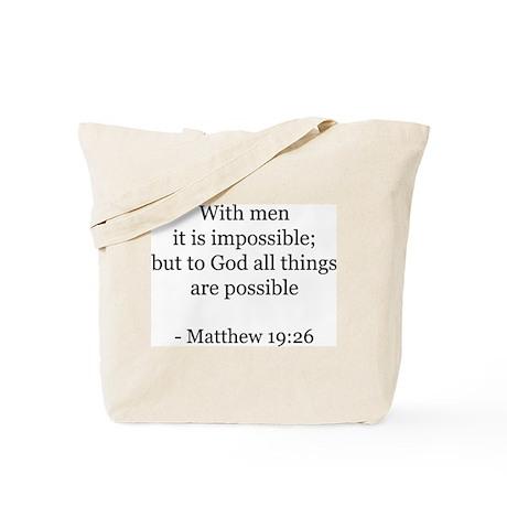 Matthew 19:26 Tote Bag