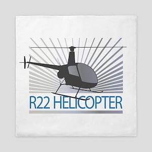 Aircraft R22 Helicopter Queen Duvet