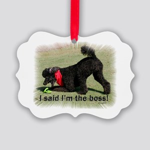 I am the Boss Poodle Picture Ornament
