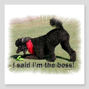"I am the Boss Poodle Square Car Magnet 3"" x 3"""